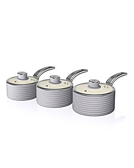 Swan Retro 3 Piece Pan Set Grey