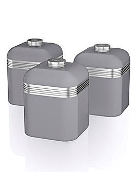 Swan Retro Set of 3 Canisters Grey