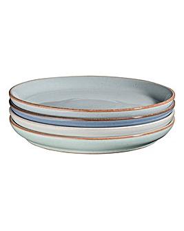 Denby Blues 4 Medium Coupe Plate Set