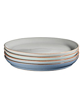 Denby Blues 4 Coupe Plate Set