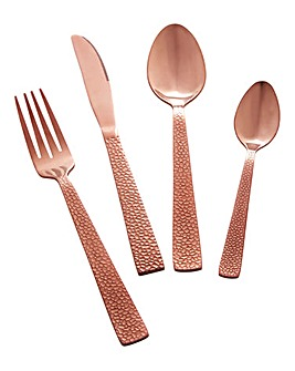 16 Piece Rose Gold Hammered Cutlery Set