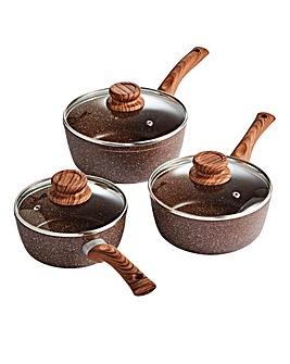 Anti-Scratch Stone Three Piece Pan Set