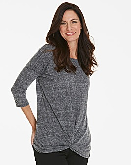 Grey Twist Front Top with 3/4 Sleeve