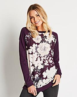 Purple Print Woven Front Sweatshirt