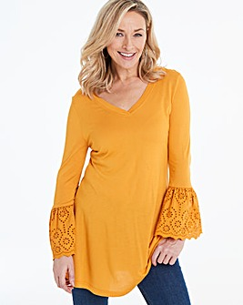 Ochre Broderie Cuff Long Sleeve Top