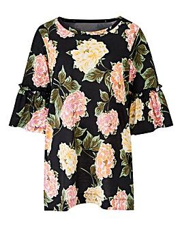 Floral Print Ruffle Sleeve T-shirt