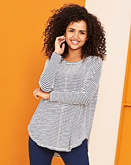White/Navy Oversized Stripe Top