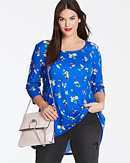 Blue Floral Dip Back Tunic