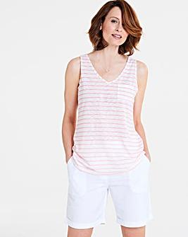 Pink Stripe Linen Blend Vest