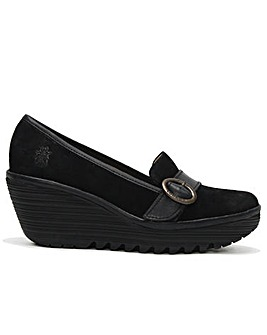Fly London Yond Suede Wedge Loafers
