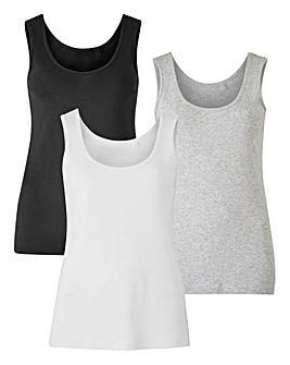 Black/ White/ Grey Pack of 3 Vests