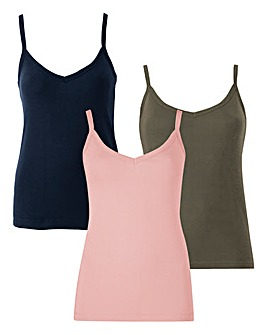 Navy/Dusty Pink/Khaki Pack of 3 Camisoles