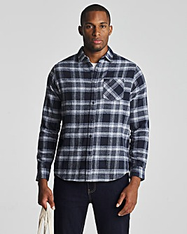 Navy Check Long Sleeve Flannel Shirt