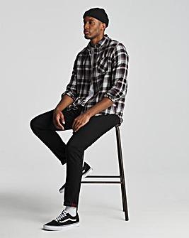 Black Check Long Sleeve Flannel Shirt