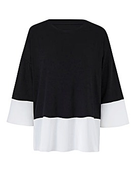 Black/ White Boxy Contrast Hem Top