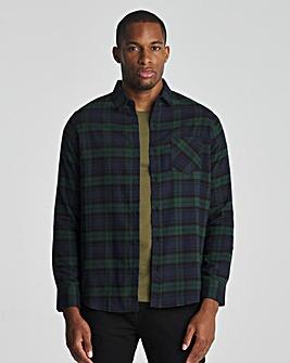 Green Check Long Sleeve Flannel Shirt
