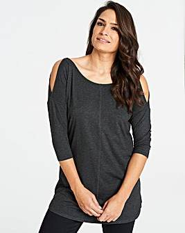 Charcoal Marl Cold Shoulder Tunic