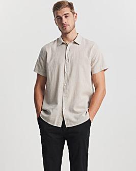 Stone Short Sleeve Linen Fit Shirt