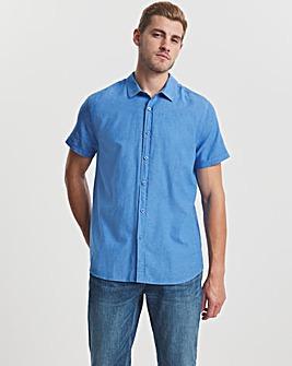 Denim Short Sleeve Linen Fit Shirt