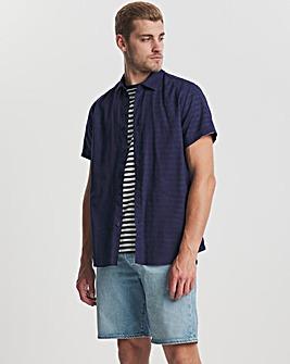 Navy Short Sleeve Linen Fit Shirt