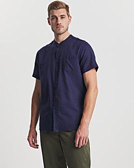 Navy Grandad Collar Short Sleeve Linen Shirt