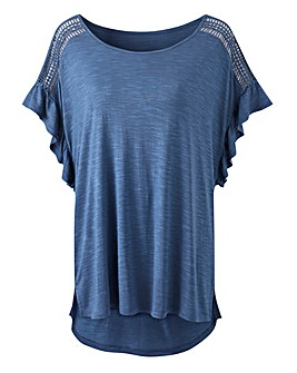 Denim Blue Volume Sleeve Slub T-shirt