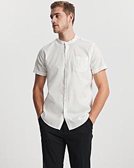 White Grandad Collar Short Sleeve Linen Shirt