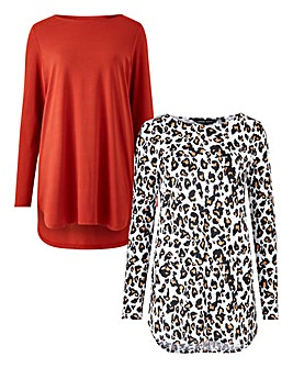 Leopard/Rust Pack of 2 Dipped Hem Tunics