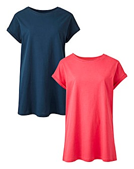 Navy/ Rasberry 2 Pack Boyfriend T-shirts
