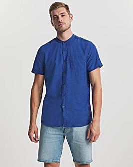 Blue Grandad Collar Short Sleeve Linen Shirt