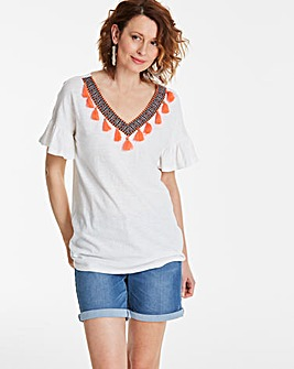 Tassel Trim V Neck T-Shirt
