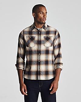 Oatmeal Check Long Sleeve Flannel Shirt