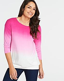 Pink/ White Dip Dye Banded Hem Top