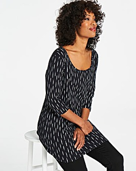 Black Stripe 3/4 Sleeve Tunic