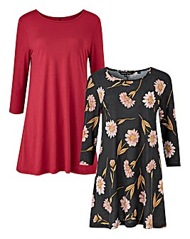 Black Floral/Berry Pack of 2 Swing Tunic