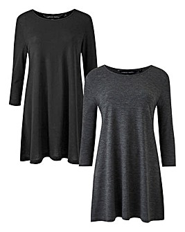 Black/Charcoal Pack of 2 Swing Tunics