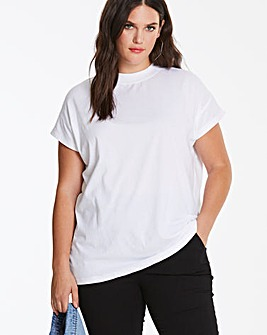 White Simply Be High Neck Value T Shirt