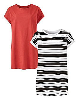 Stripe/ Henna 2 Pack Boyfriend T-shirts