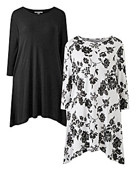 Mono Floral Pack of 2 Hanky Hem Tunics