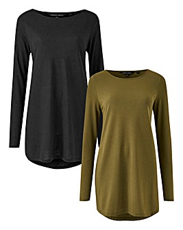 Black/ Khaki Pack of 2 Dipped Hem Tunics
