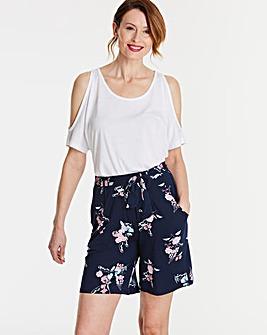 Floral Print Tie Waist Jersey Shorts
