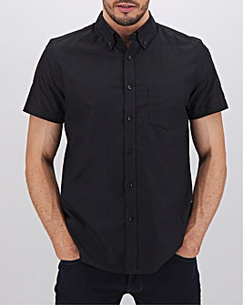 Black Short Sleeve Oxford Shirt Long
