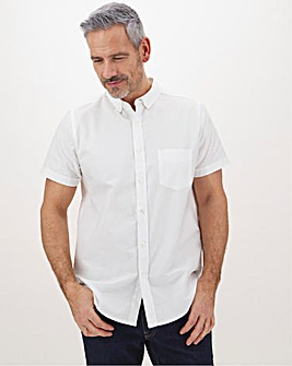 White Short Sleeve Oxford Shirt Long