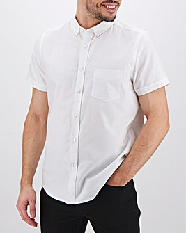 White Short Sleeve Oxford Shirt Long
