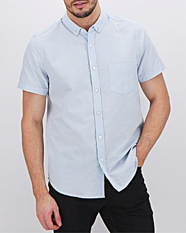 Blue Short Sleeve Oxford Shirt Long