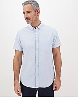 Blue Short Sleeve Oxford Shirt Long
