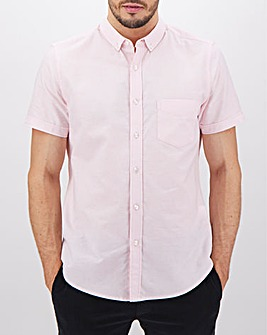 Baby Pink Short Sleeve Oxford Shirt Long
