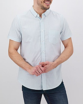 Blue Stripe Short Sleeve Oxford Shirt Long