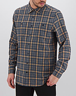 Denim/Ochre Check Flannel Shirt Long