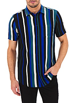 Navy Stripe Short Sleeve Shirt Long